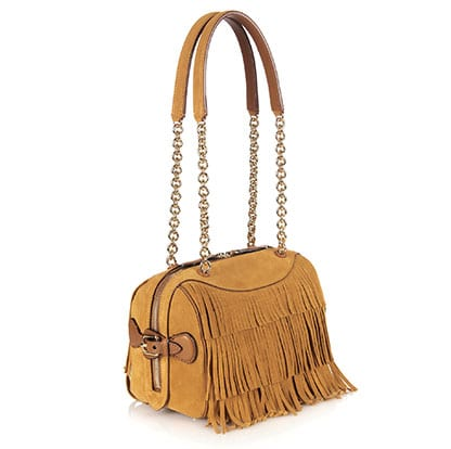 Fringed suede and leather shoulder bag By BURBERRY PRORSUM