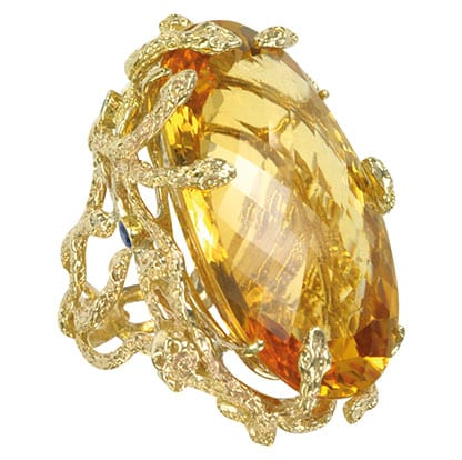 Medusa Gold and Citrine Ring By Bernard Delettrez