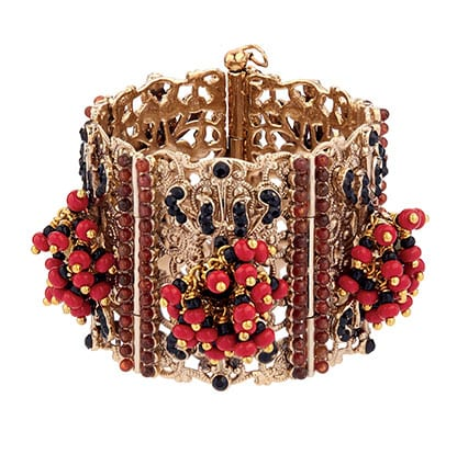 Bead and crystal-embellished brass cuff By Etro