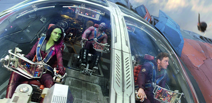 Zoe Saldana returns to the driving seat in her role as Gamora in Guardians of the Galaxy Vol. 2