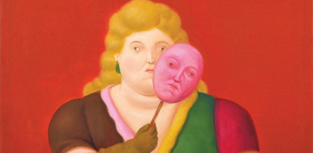 Woman With Mask and Trumpet by Fernando Botero at Singapore Art Week