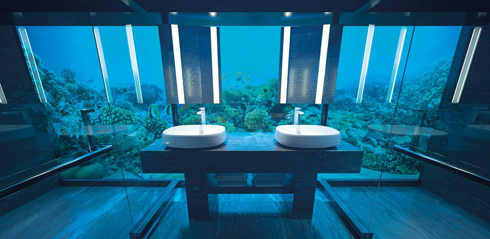 The undersea bathroom looks out onto the Indian Ocean