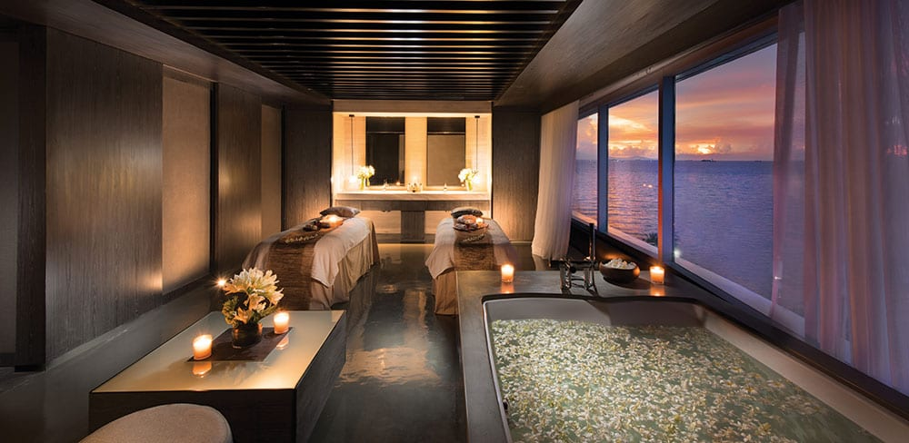 Sea views from the soaking tub at Conrad Manila's treatment rooms